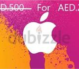 Apple iTunes Card AED.500, Selling at 50% (half Price). Quantity: 2 pcs. 250/Each