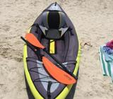 Inflatable kayak for sale. Hardly used. Good condition. Includes paddle and manual pump