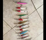 Branded used lures including xrap, storm etc. 20feet and 50 feet divers as well. Plano lure box 2 Ch