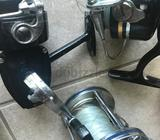 Sea Fishing Rods and Fishing Reels - Multiple Professional Fishing Rods and Four Fishing Reels with