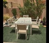 Garden table white with glass top, 6 chairs, grey