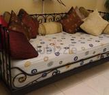 2 single beds with2 side tables and dresser in good condition for sale aed750Wooden book shelf aed 1