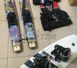 full set wakeboard (used 3 times only) with shoes (kid size), water-ski (kid size) and 3 life- jacke