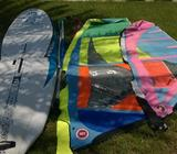 Beginner/kids windsurf set completeStarboard Rio 169x76Hotsails 1.6m MicroFreakHotsails 2.6m MicroFr