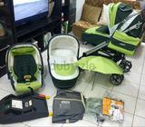 Peg Perego full set: push-chair with large carry caught, mamas and papas izofix car seat, umbrella,