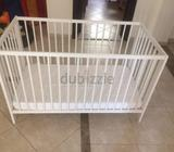 Selling baby cot + maitress bought from Ikea. Rarely used, in very good condition. Selling due of re