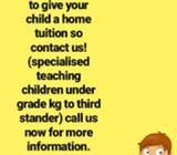 Tution for your child (kg grade 3)