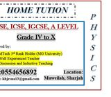 MATHS AND PHYSICS TUITION IN SHARJAH MUWEILAH