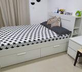 Bed , sofa , washing machine,  fridge,  cooking range,  tv  table