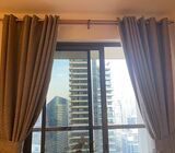 Luxury curtain and elephant leather chair